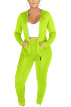 Fluorescent green Sexy Polyester Solid Split Joint Hooded Collar Long Sleeve Regular Sleeve Regular Two Pieces
