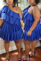Blue Sexy Solid Fold One Shoulder Pleated Plus Size Dresses