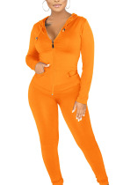 Orange Sexy Polyester Solid Split Joint Hooded Collar Long Sleeve Regular Sleeve Regular Two Pieces