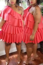 Red Sexy Solid Fold One Shoulder Pleated Plus Size Dresses