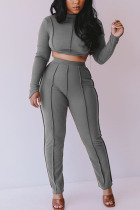Grey Fashion Adult Elegant Polyester Solid Hollowed Out O Neck Long Sleeve Regular Sleeve Short Two Pieces
