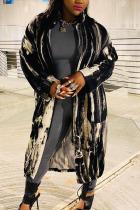 Black Fashion Celebrities Adult Striped Print Cardigan Turndown Collar Outerwear