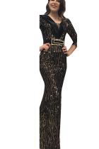 Black Sexy Party Polyester Pleuche Print Bead tube Basic V Neck Half Sleeve Floor Length A Line Dresses