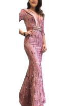 Pink Sexy Party Polyester Pleuche Print Bead tube Basic V Neck Half Sleeve Floor Length A Line Dresses