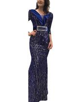 Blue Sexy Party Polyester Pleuche Print Bead tube Basic V Neck Half Sleeve Floor Length A Line Dresses