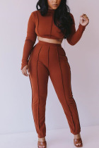 Brown Fashion Adult Elegant Polyester Solid Hollowed Out O Neck Long Sleeve Regular Sleeve Short Two Pieces