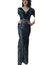 Black Green Sexy Party Polyester Pleuche Print Bead tube Basic V Neck Half Sleeve Floor Length A Line Dresses