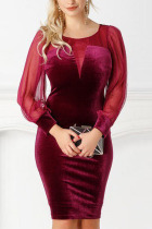 Wine Red Sexy Chiffon Pleuche Patchwork Solid Split Joint Basic O Neck A Line Plus Size