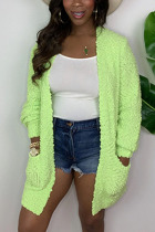 Green Fashion Daily Adult Acetate Fiber Solid Cardigan O Neck Outerwear