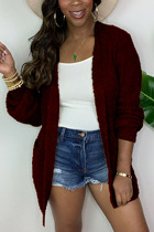 Red Fashion Daily Adult Acetate Fiber Solid Cardigan O Neck Outerwear