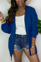 Blue Fashion Daily Adult Acetate Fiber Solid Cardigan O Neck Outerwear