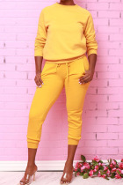 Yellow Fashion Daily Adult Polyester Solid Draw String O Neck Long Sleeve Regular Sleeve Regular Two Pieces