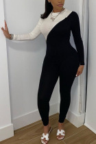 White Fashion Street Polyester Knitting Patchwork Solid Split Joint Pants O Neck Skinny Jumpsuits