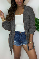 Grey Fashion Daily Adult Acetate Fiber Solid Cardigan O Neck Outerwear