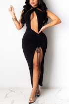 Black Sexy Polyester Twilled Satin Solid Pierced Hollowed Out Frenulum High Opening Fold Halter Sleeveless Ankle Length Pencil Skirt Dresses