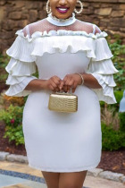 White Celebrities Elegant Polyester Gauze Twilled Satin Solid Basic O Neck Three Quarter Mini A Line Dresses