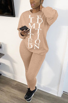 Khaki Casual Living Polyester Letter Print Solid Pullovers Pants Basic O Neck Long Sleeve Regular Sleeve Regular Two Pieces
