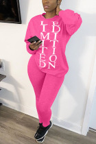 Pink Casual Living Polyester Letter Print Solid Pullovers Pants Basic O Neck Long Sleeve Regular Sleeve Regular Two Pieces