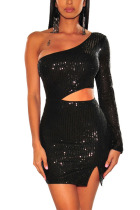 Black Sexy Party Polyester Sequined Pierced Hollowed Out Sequins Slit Bead tube Oblique Collar Long Sleeve Mini A Line Dresses