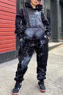 Black Fashion Street Print Pocket Hooded Collar Long Sleeve Regular Sleeve Regular Two Pieces