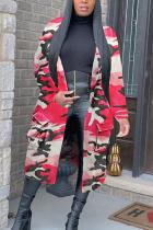 Pink Street Cotton Camouflage Print Split Joint Turndown Collar Outerwear