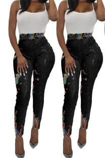 Black Polyester Elastic Fly High Sequin Skinny Pants