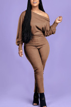 Coffee Fashion Casual Adult Polyester Solid One Shoulder Skinny Jumpsuits