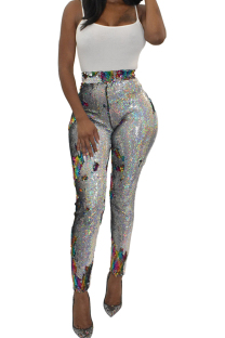 Multi-color Polyester Elastic Fly High Sequin Skinny Pants