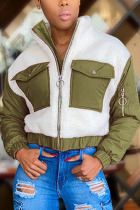 Green Fashion Casual Adult Patchwork Split Joint Mandarin Collar Outerwear