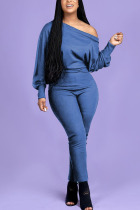 Blue Fashion Casual Adult Polyester Solid One Shoulder Skinny Jumpsuits