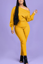 Yellow Fashion Casual Adult Polyester Solid One Shoulder Skinny Jumpsuits
