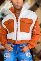 Orange Fashion Casual Adult Patchwork Split Joint Mandarin Collar Outerwear