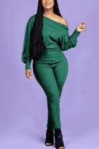 Green Fashion Casual Adult Polyester Solid One Shoulder Skinny Jumpsuits