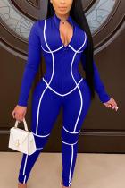 Blue Sexy Milk Fiber Solid Split Joint O Neck Skinny Jumpsuits
