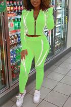 Fluorescent green Casual Sportswear Polyester Spandex Cotton Blends Patchwork Solid Split Joint Pants Zipper Collar Long Sleeve Regular Sleeve Short Two Pieces