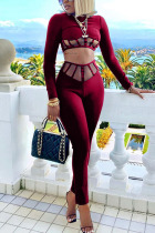 Wine Red Fashion Sexy Adult Twilled Satin Solid Split Joint O Neck Long Sleeve Regular Sleeve Short Two Pieces