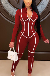 Wine Red Fashion Print O Neck Straight Jumpsuits