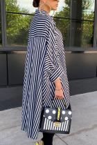 Black Elegant Polyester Striped Fold Turndown Collar Outerwear