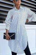 White Elegant Polyester Striped Fold Turndown Collar Outerwear