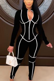 Black Fashion Print O Neck Straight Jumpsuits