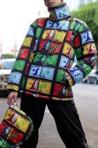 Black Fashion British Style Adult Print Cardigan Turtleneck Outerwear