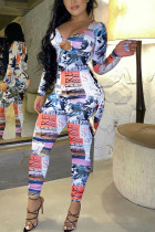 multicolor Fashion Sweet Adult Polyester Print Hollowed Out V Neck Skinny Jumpsuits