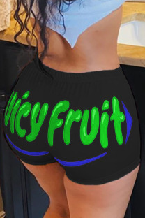 Turquoise Polyester Elastic Fly Low Print Straight shorts Bottoms