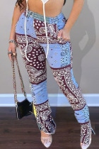 Blue Fashion Casual Adult Polyester Print Slit Straight Bottoms
