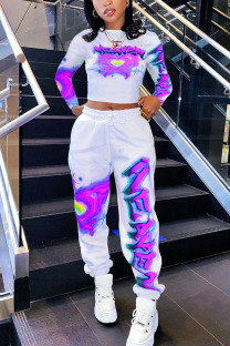 purple Fashion Casual Adult Print Split Joint O Neck Long Sleeve Regular Sleeve Short Two Pieces