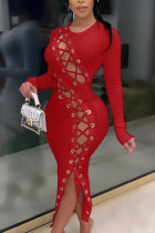 Wine Red Fashion Sexy Adult Solid Bandage O Neck Long Sleeve Ankle Length Long Sleeve Dress Dresses