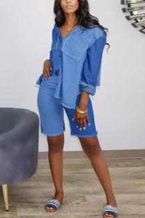 Blue Fashion Casual Street Vintage Polyester Denim Patchwork Ripped Split Joint Pocket Buckle Cardigan Capris Turndown Collar Long Sleeve Regular Sleeve Regular Two Pieces
