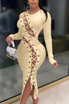 Khaki Fashion Sexy Adult Solid Bandage O Neck Long Sleeve Ankle Length Long Sleeve Dress Dresses