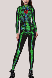 Green Fashion Party Adult Polyester Print Split Joint O Neck Skinny Jumpsuits
