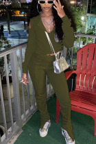 Olive green Daily Solid Hollowed Out Slit O Neck Long Sleeve Regular Sleeve Two Pieces
